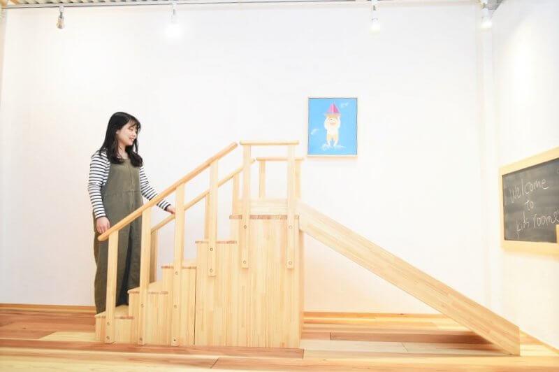 なかよしライブラリー室内用滑り台木製