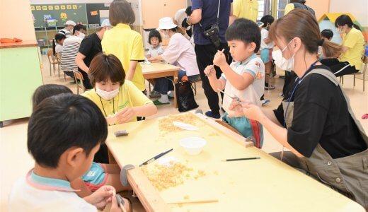 幼稚園でお箸づくり&試作パーテーションのお届け